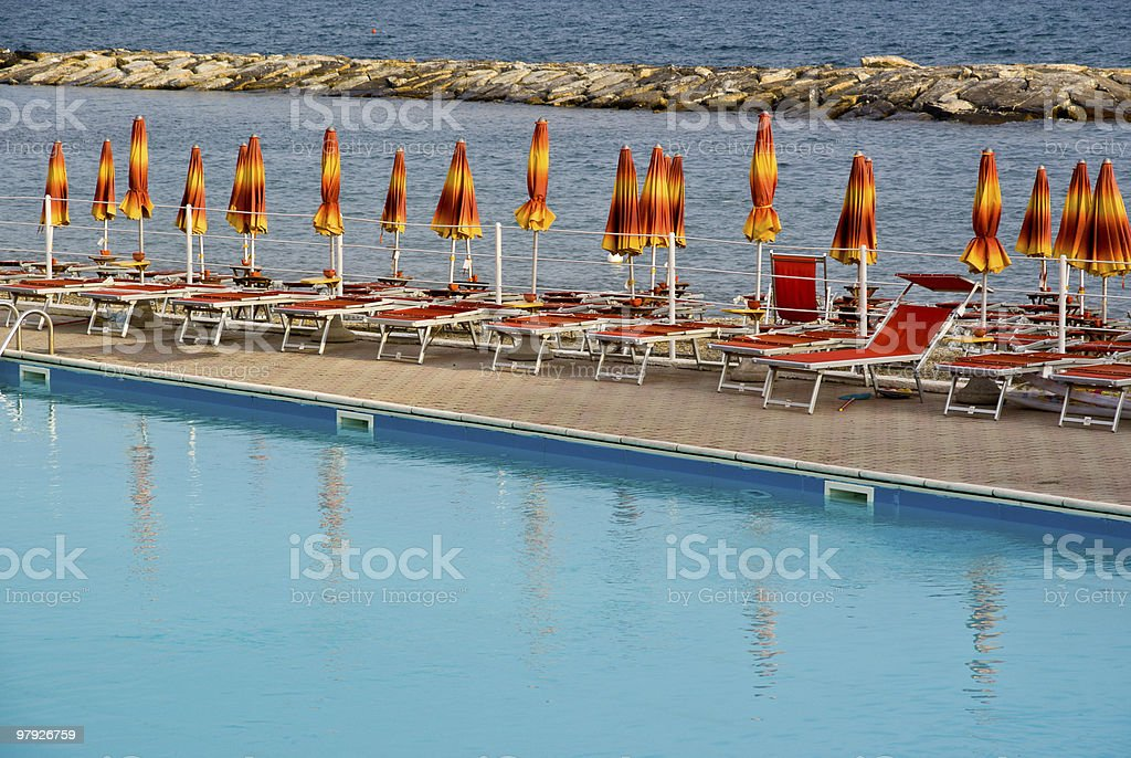 Pool on the beach royalty-free stock photo