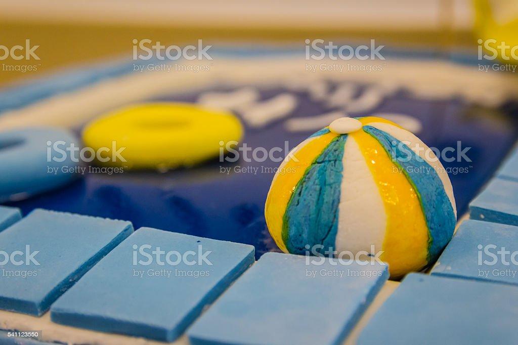 Pool party themed cake with fondant cake decoration - foto de acervo