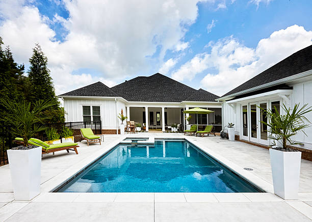 Pool House and pool. backyard pool stock pictures, royalty-free photos & images