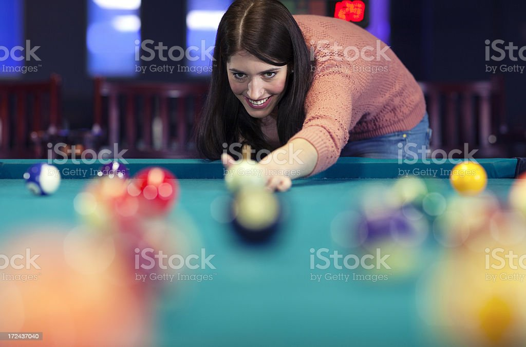 Pool player behind the cue target ball royalty-free stock photo
