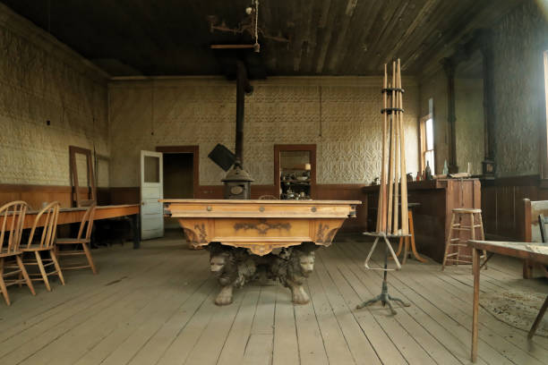 a pool room in ghost town bodie, california - western town stock photos and pictures