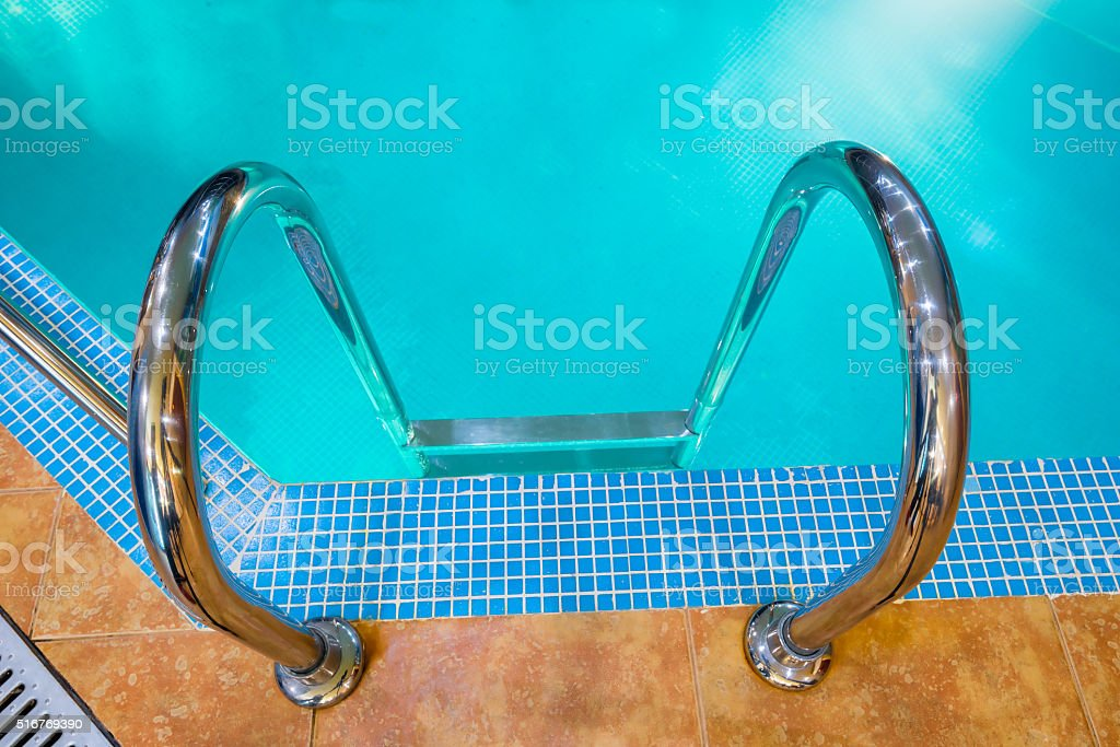 Pool Staircase Indoor Closeup View From Above Stock Photo More