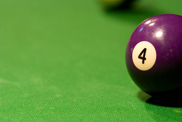 Pool Table - 4 Ball Pool table with 4 ball visible. number 4 stock pictures, royalty-free photos & images