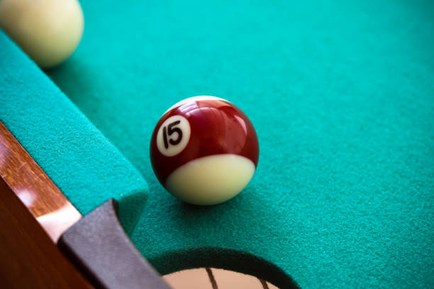 Pool table and ball stock photo
