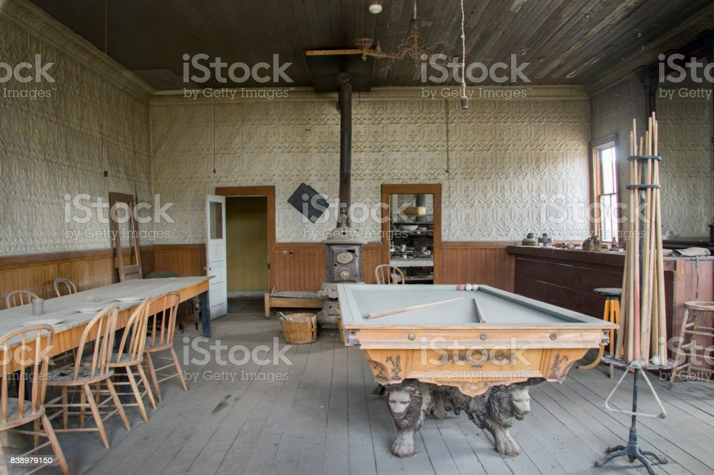 Pool table and bar, Wheaton and Hollis Hotel, Boide, California stock photo