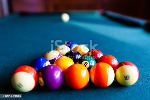 Pool Table Billiards Balls - Focus on Foreground.