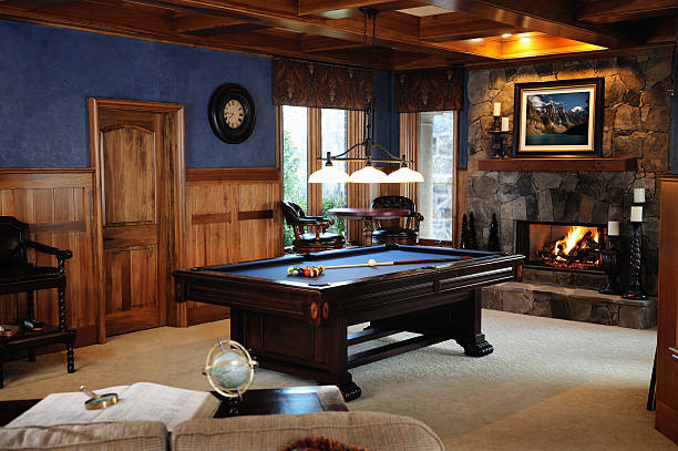 Pool Table in Bonus Room Interior  man cave stock pictures, royalty-free photos & images