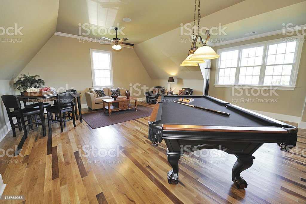 Pool Table In Home Interior royalty-free stock photo