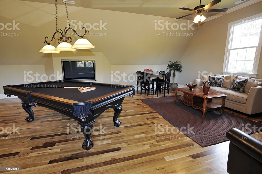 Pool Table In Home Interior stock photo
