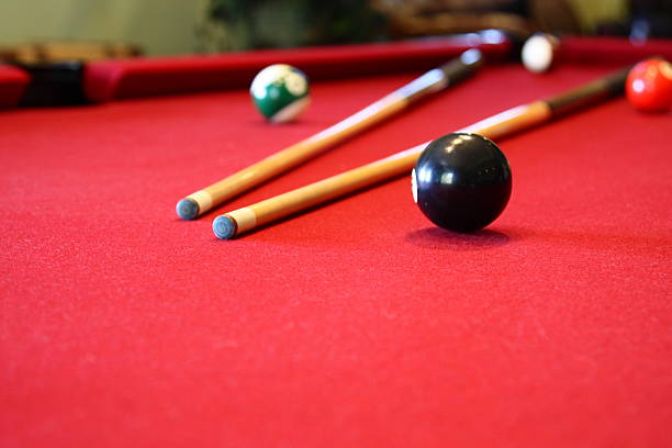pool table - pool cue stock photos and pictures