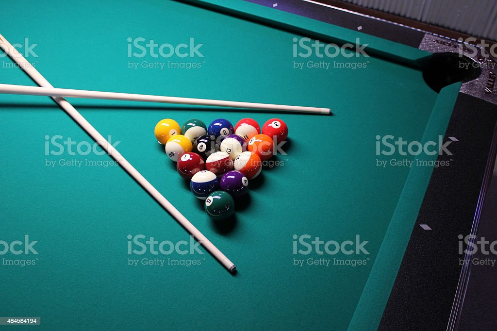 ... Pool Table, Set Up For A Game Stock Photo ...