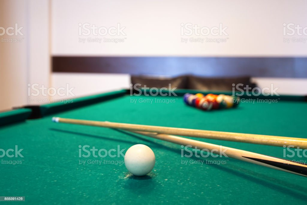 Pool table with balls stock photo