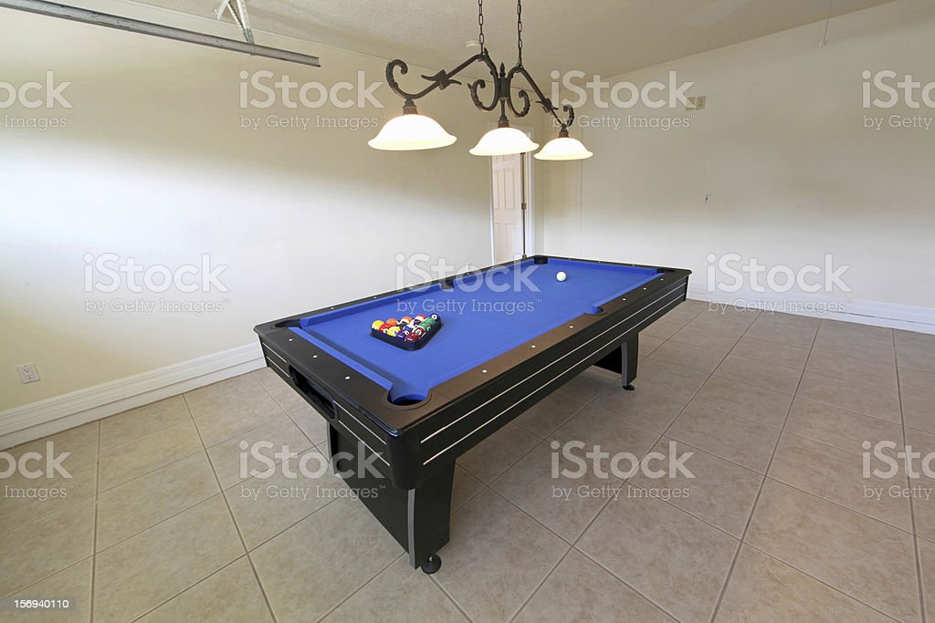Pool table with blue tread for playing stock photo