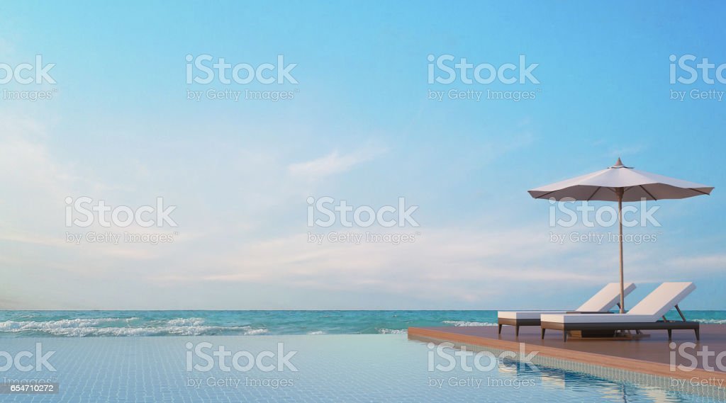 Pool terrace with sea view 3d rendering image stock photo