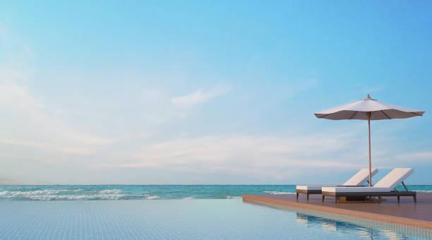 pool-terrasse mit meer view 3d rendering-bild - sun chair stock-fotos und bilder
