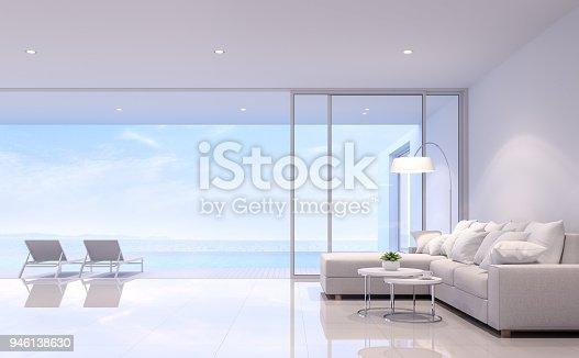 istock Pool villa living room 3d render 946138630