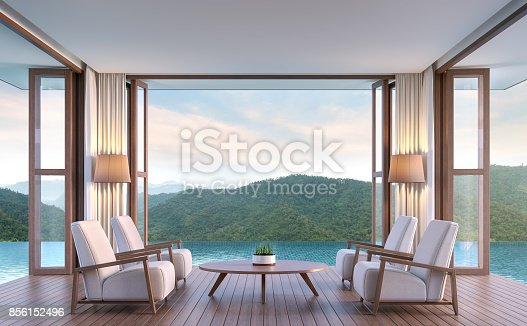 istock Pool villa living room with mountain view 3d rendering image 856152496