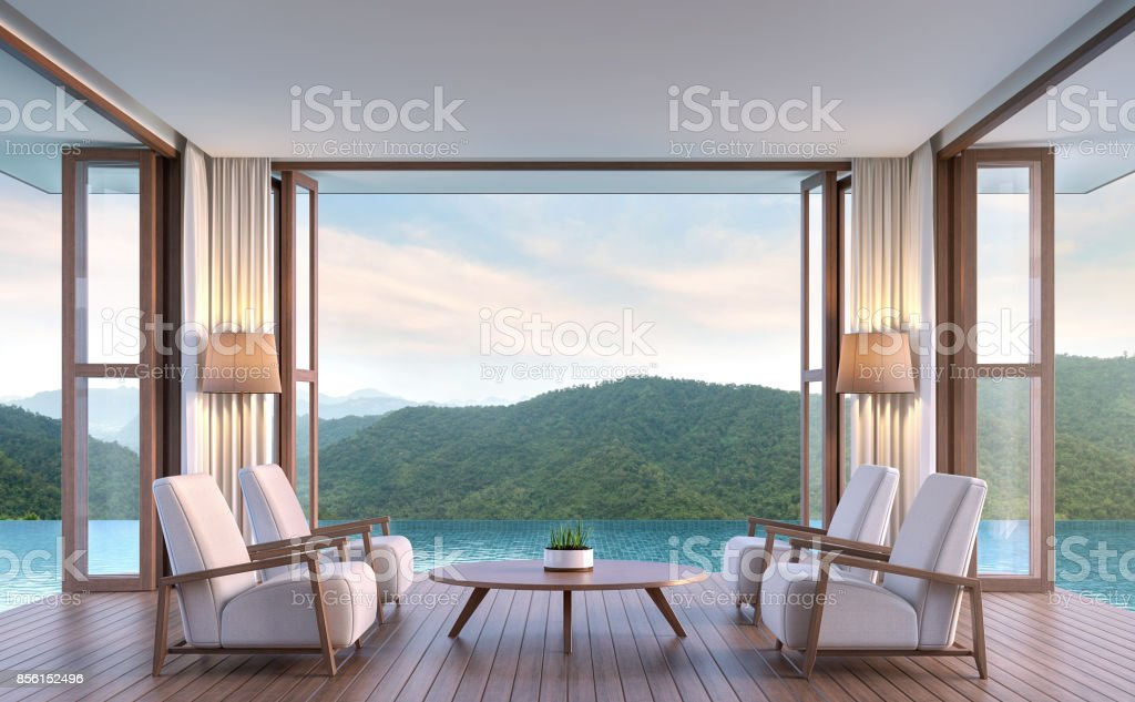 Pool villa living room with mountain view 3d rendering image stock photo