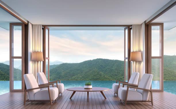 pool villa wohn-esszimmer mit blick auf die berge 3d-bild rendern - hotel in den bergen stock-fotos und bilder