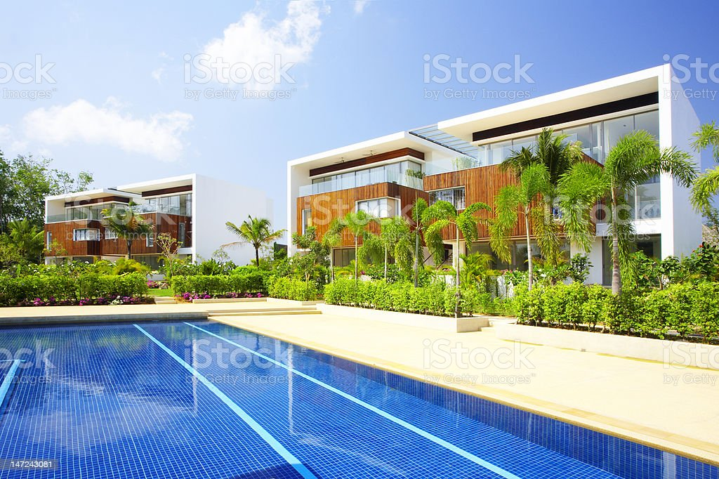 pool villa stock photo
