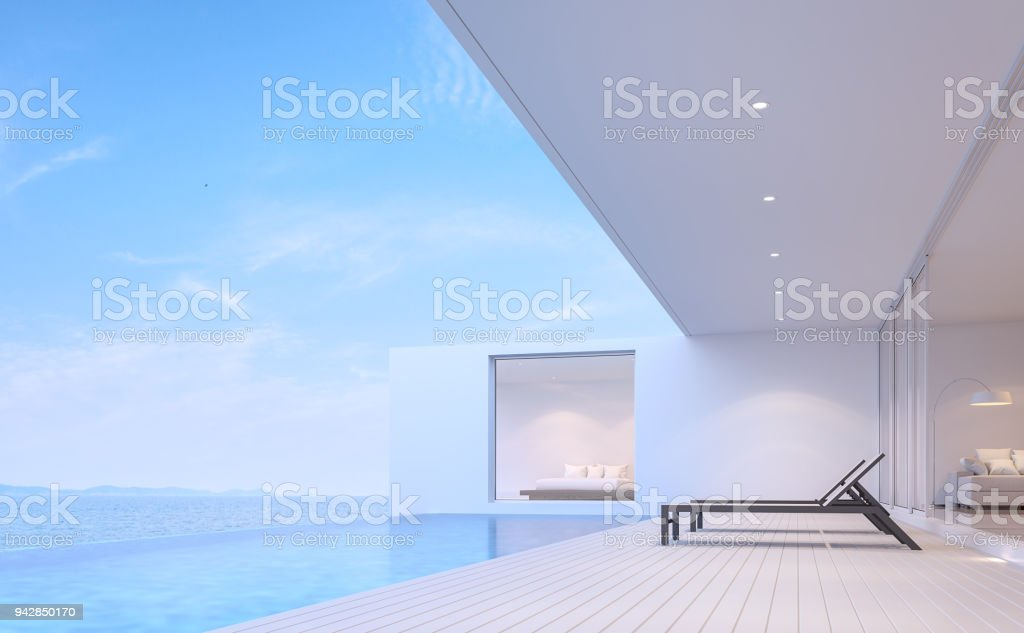 Pool villa terrace with sea view 3d render stock photo