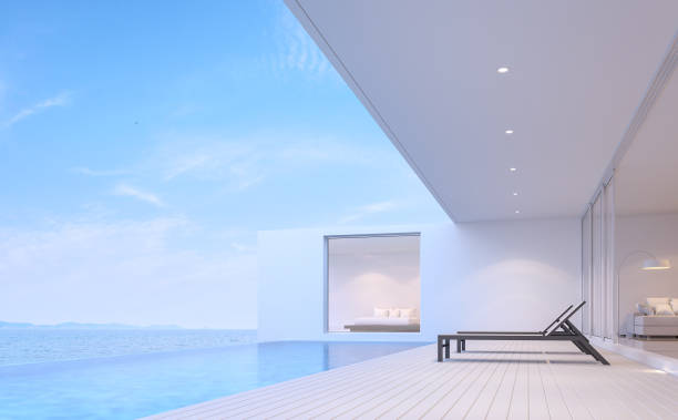 Pool villa terrace with sea view 3d render Pool villa terrace 3d render.There white wooden floor.Furnished with black sunbed. There are white wooden floor overlooks to borderless swimming pool and sea view. infinity pool stock pictures, royalty-free photos & images