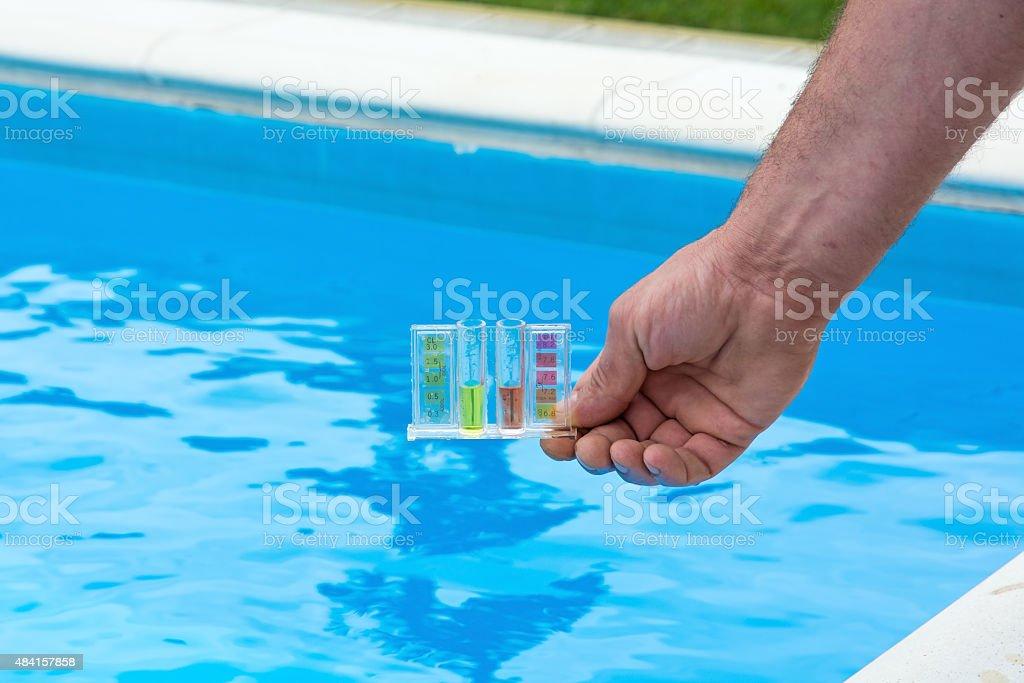 Pool water testing stock photo