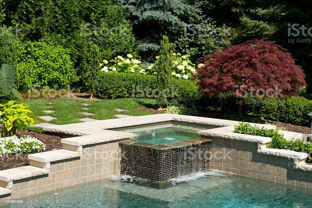 Pool Waterfall stock photo