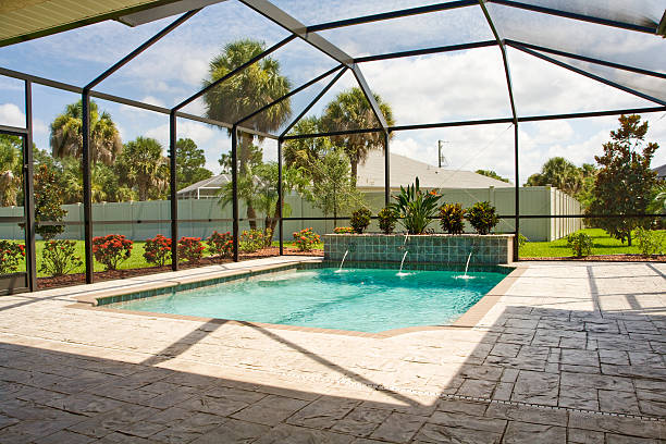Pool with screen enclosure  confined space stock pictures, royalty-free photos & images