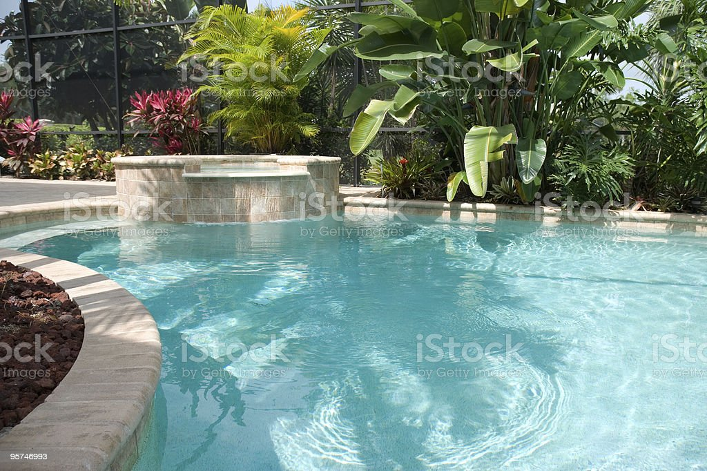 Pool With Waterfall Hot Tub Stock Photo Download Image Now Istock