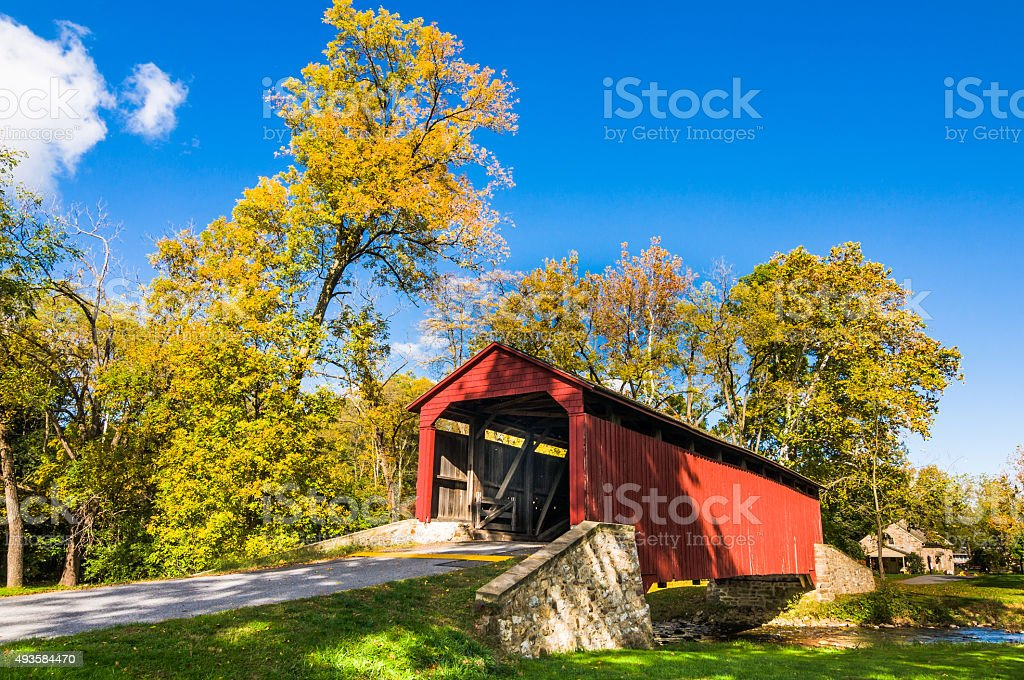Poole Forge Covered Bridge stock photo