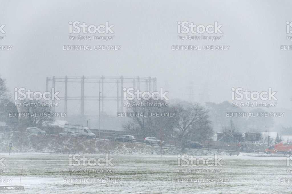 Poole Gasometer and Alder Road in heavy snow stock photo