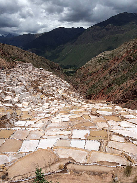 Pools for producing salt in the Sacred Valley, Peru stock photo