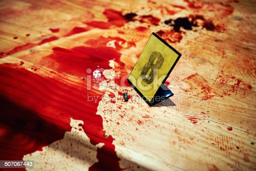 Shot of Cropped shot two bullet casings on a bloody crime scene floor