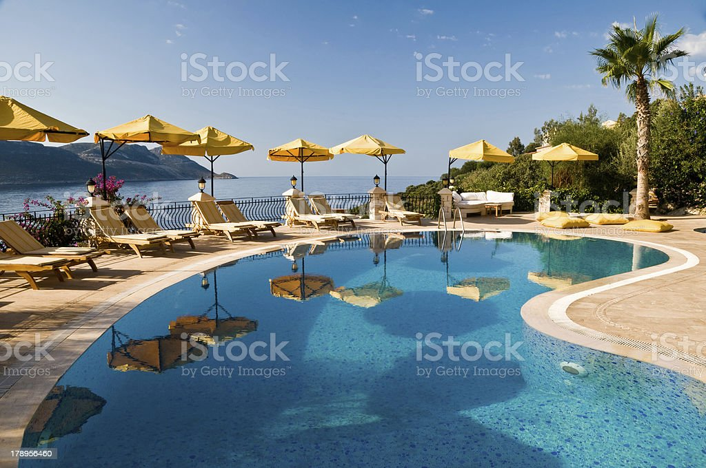 Poolside at a Mediterranean resort stock photo