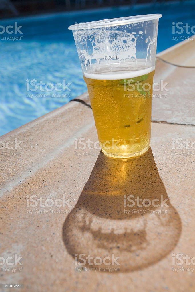 Poolside Beer royalty-free stock photo