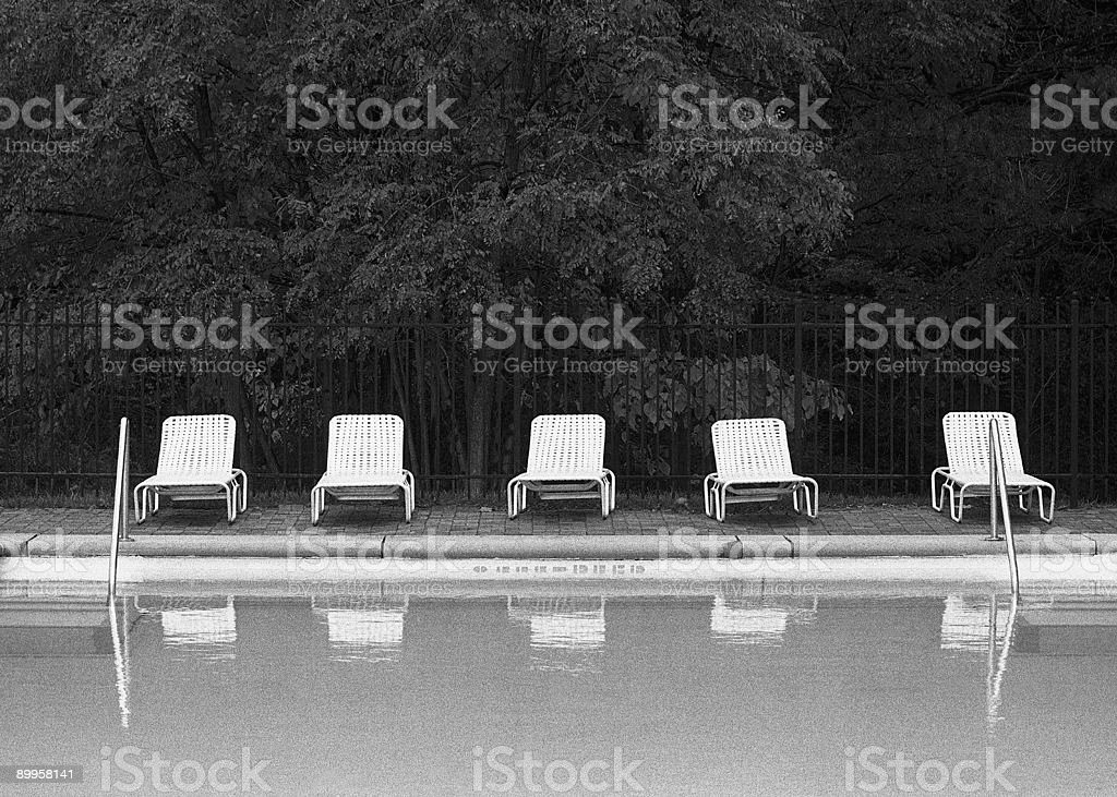 Poolside Lounge Chairs, Empty stock photo