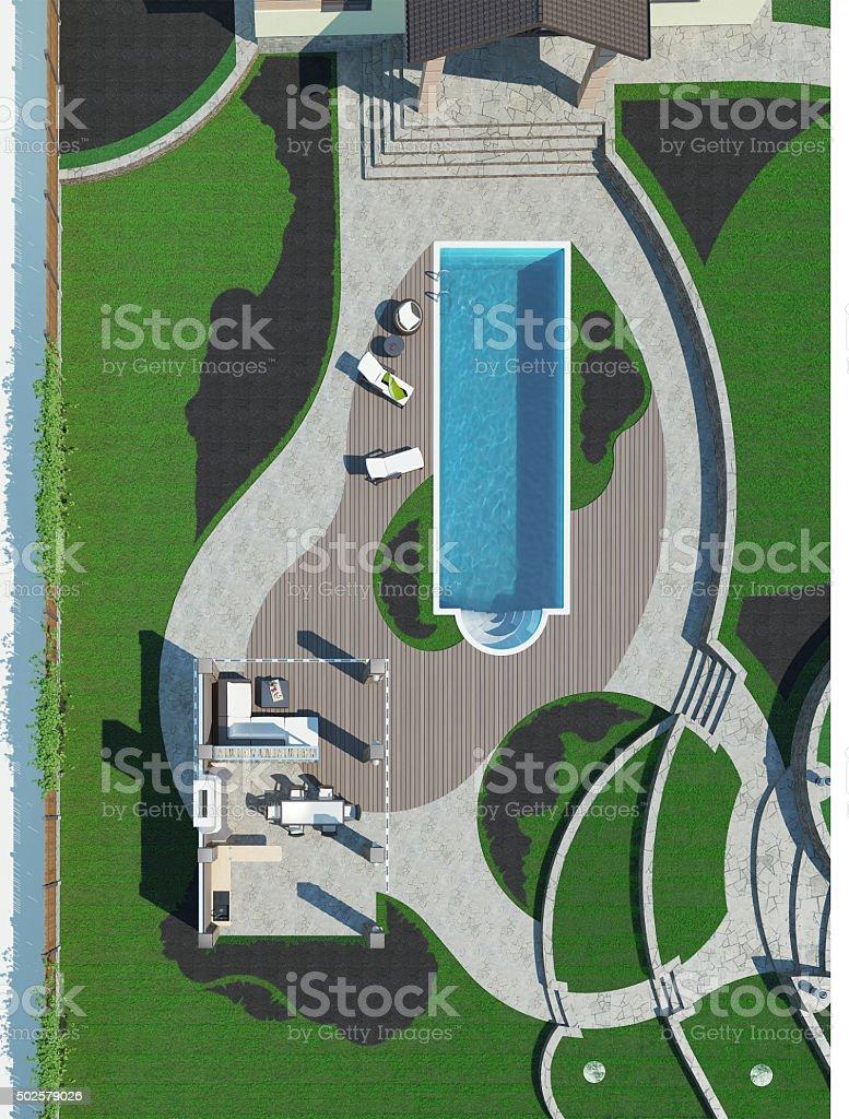 Poolside master plan, 3D render stock photo