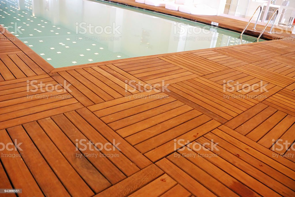 Poolside of an Indoor Swimming Pool royalty-free stock photo