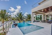 Pool outside multi-level home