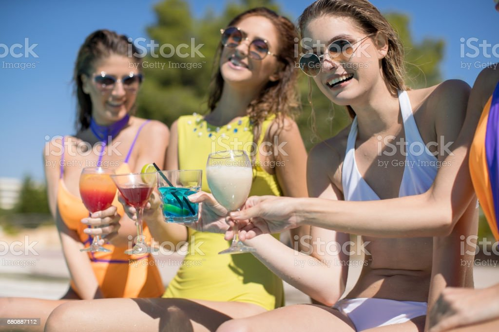 Poolside party royalty-free stock photo