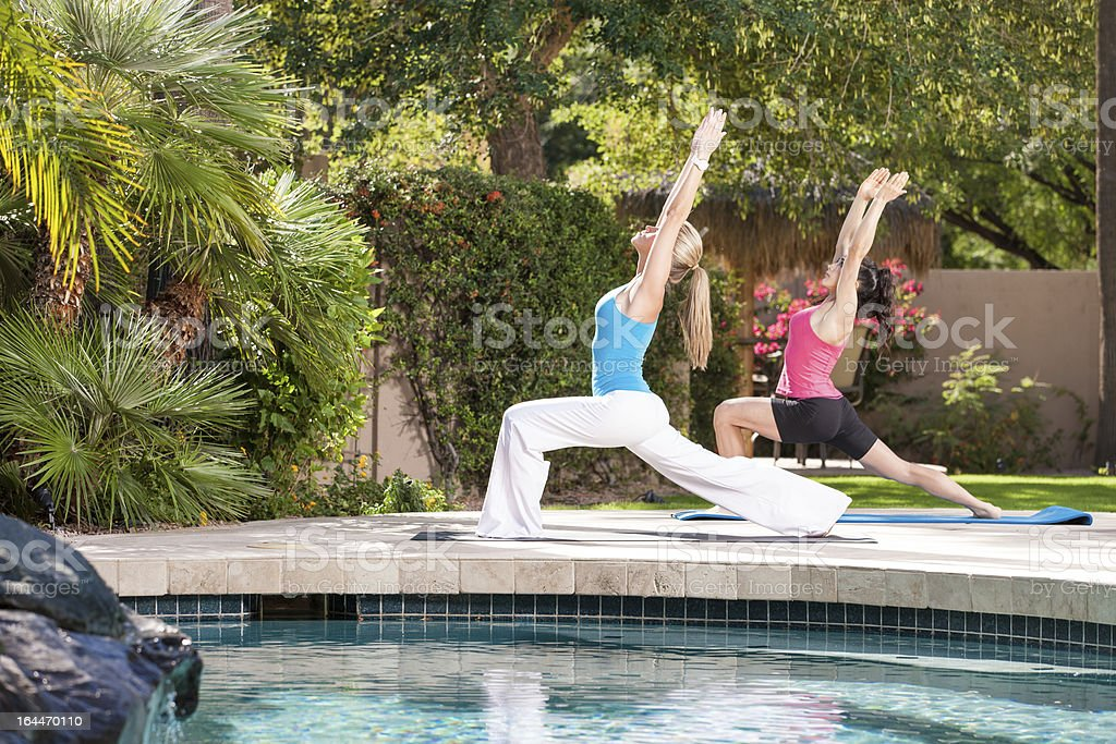 Poolside Yoga Class royalty-free stock photo