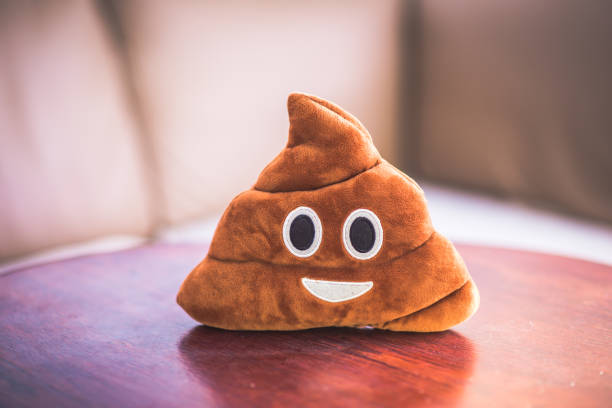poop emoji pillow, funny concept, fluffy plush toy - emoji foto e immagini stock