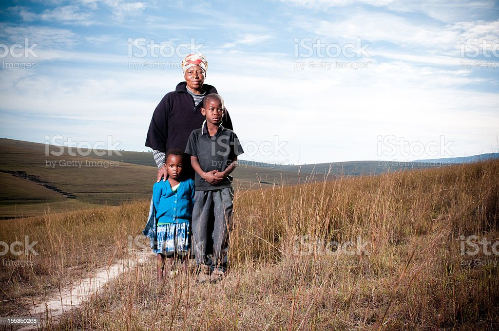 Poor African family stock photo