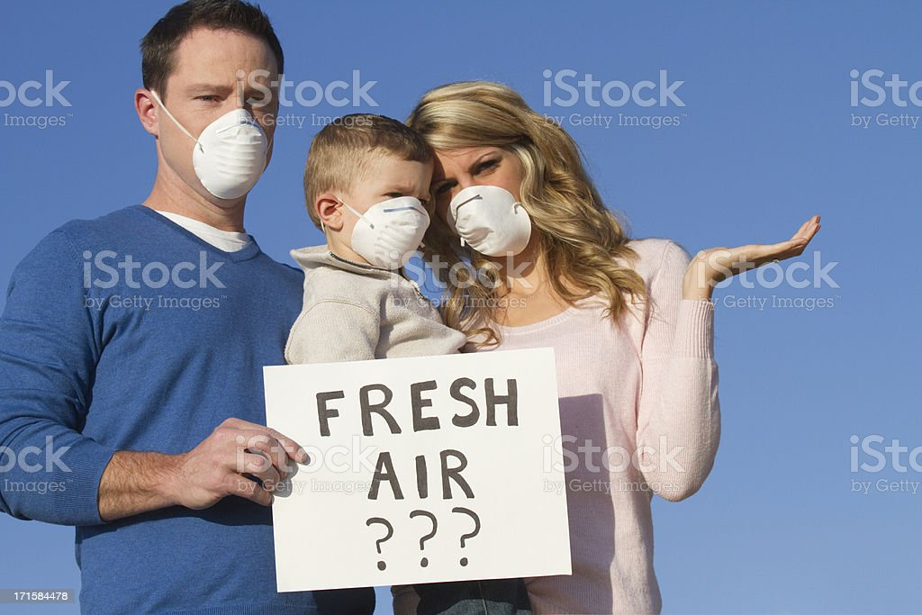 poor air quality and pollution concept stock photo
