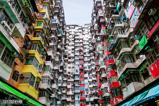 Densely populated housing in the old residential district of Quarry Bay, Hong Kong. Nicknamed