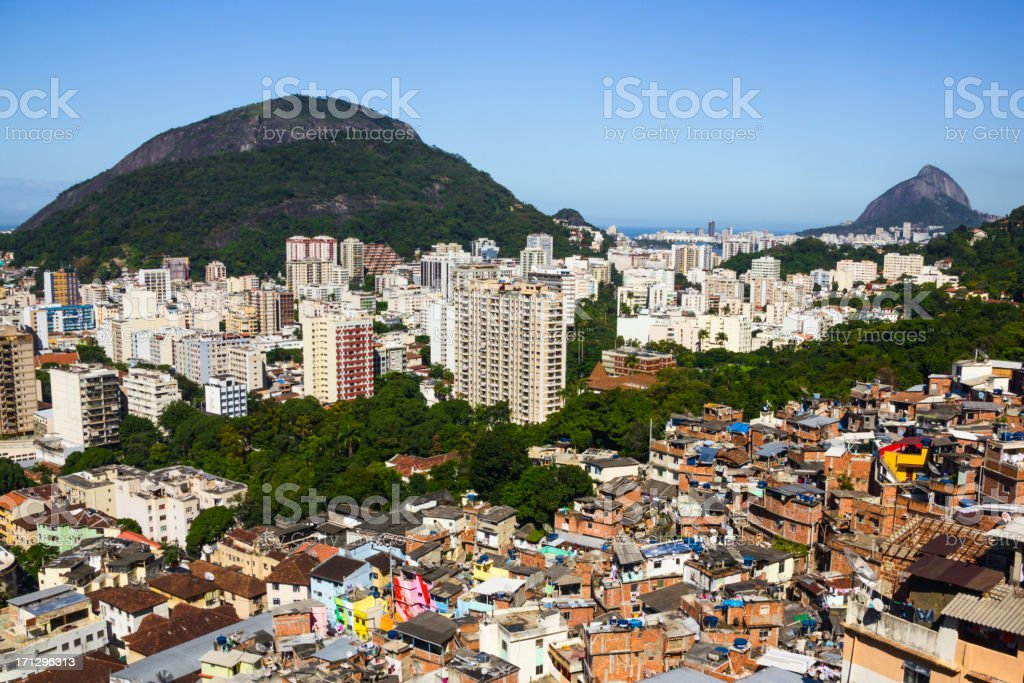 Poor and rich areas of Rio de Janeiro royalty-free stock photo