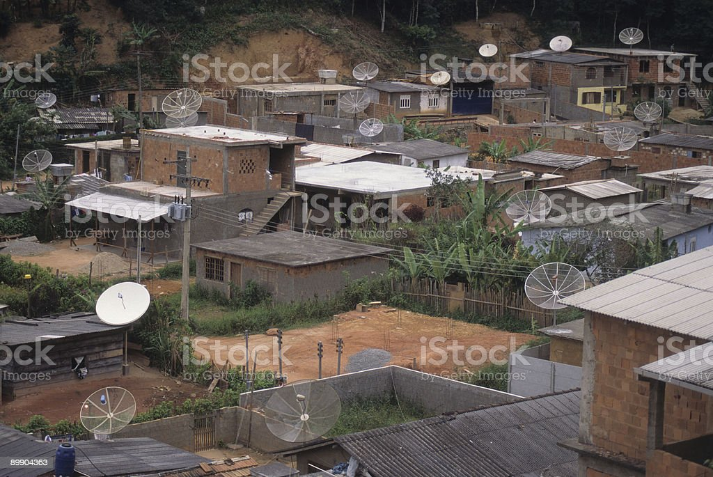 Poor area with TV antennas royalty-free stock photo