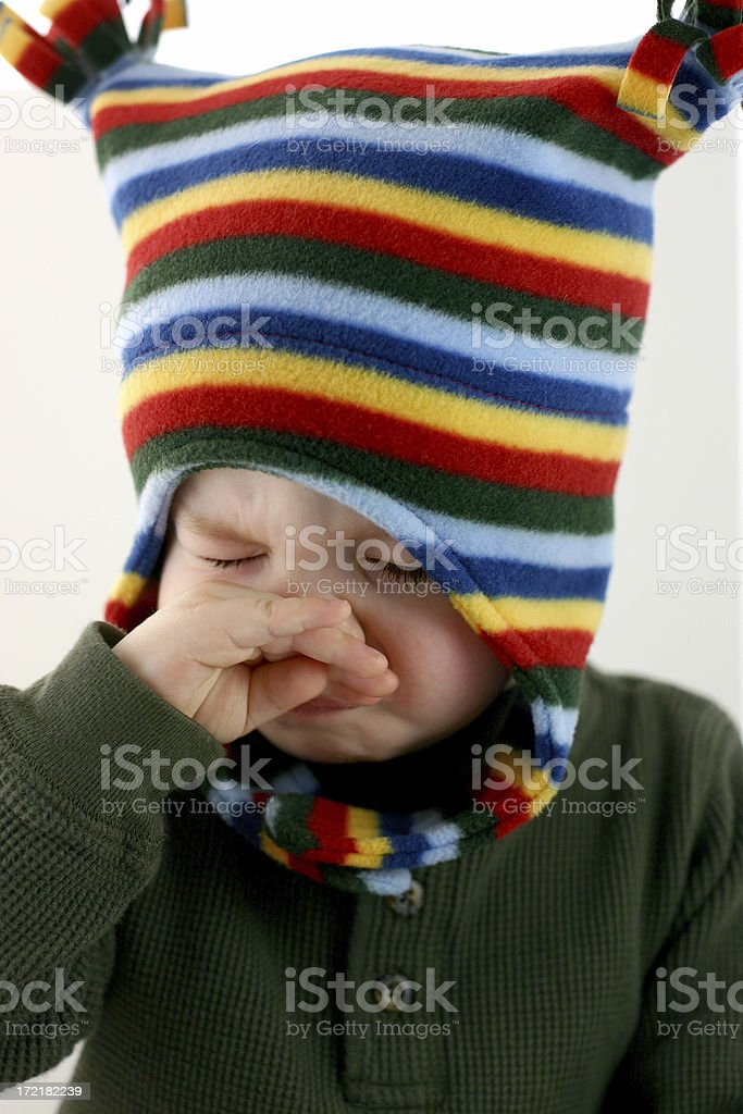 Poor Baby Series: Sneezes and sniffles. royalty-free stock photo