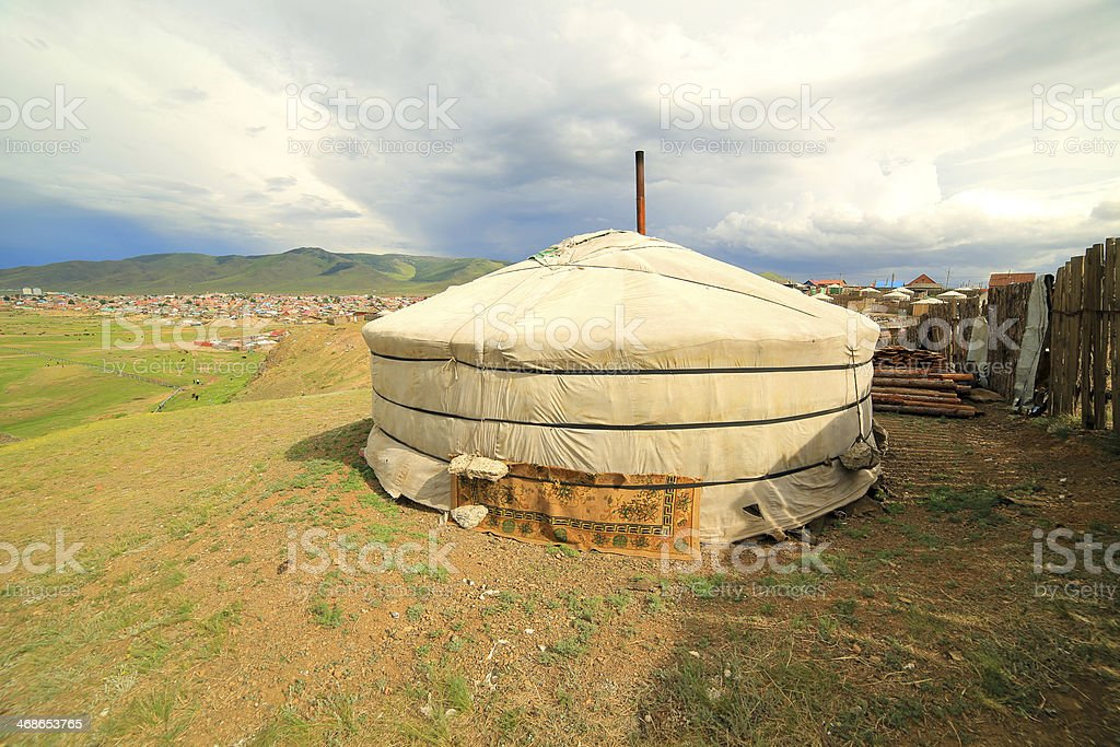 Poor households in outskirts of Ulaanbaatar, Mongolia royalty-free stock photo